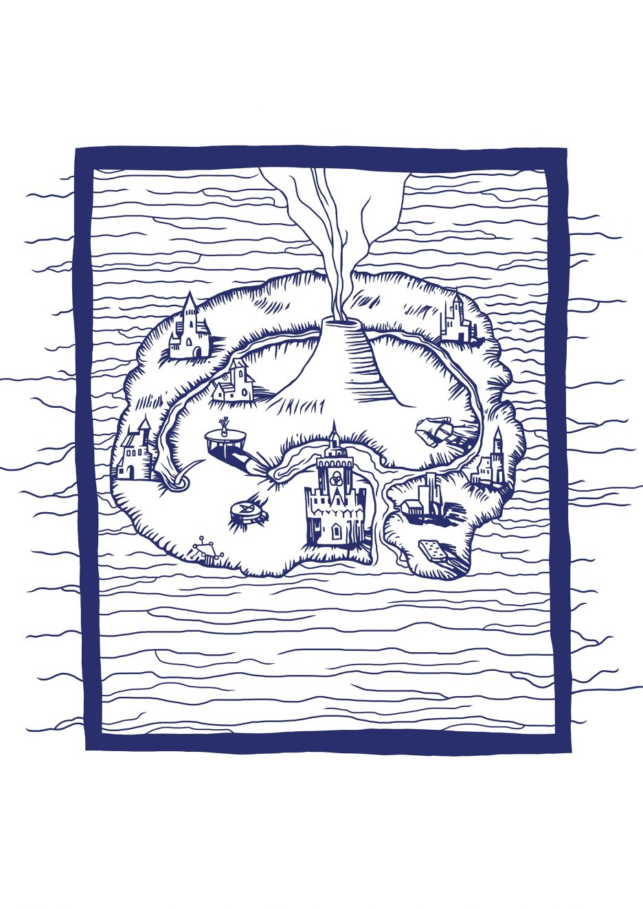 A drawing in blue lines of an island with a volcano, castle and towns.