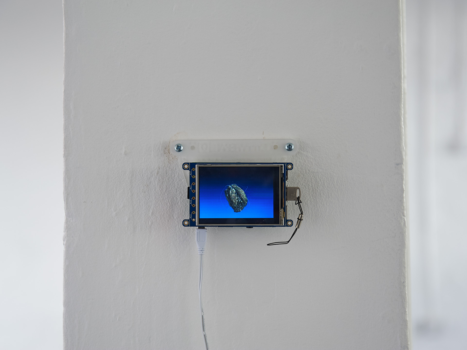 A small screen playing a video is hung on the wall.