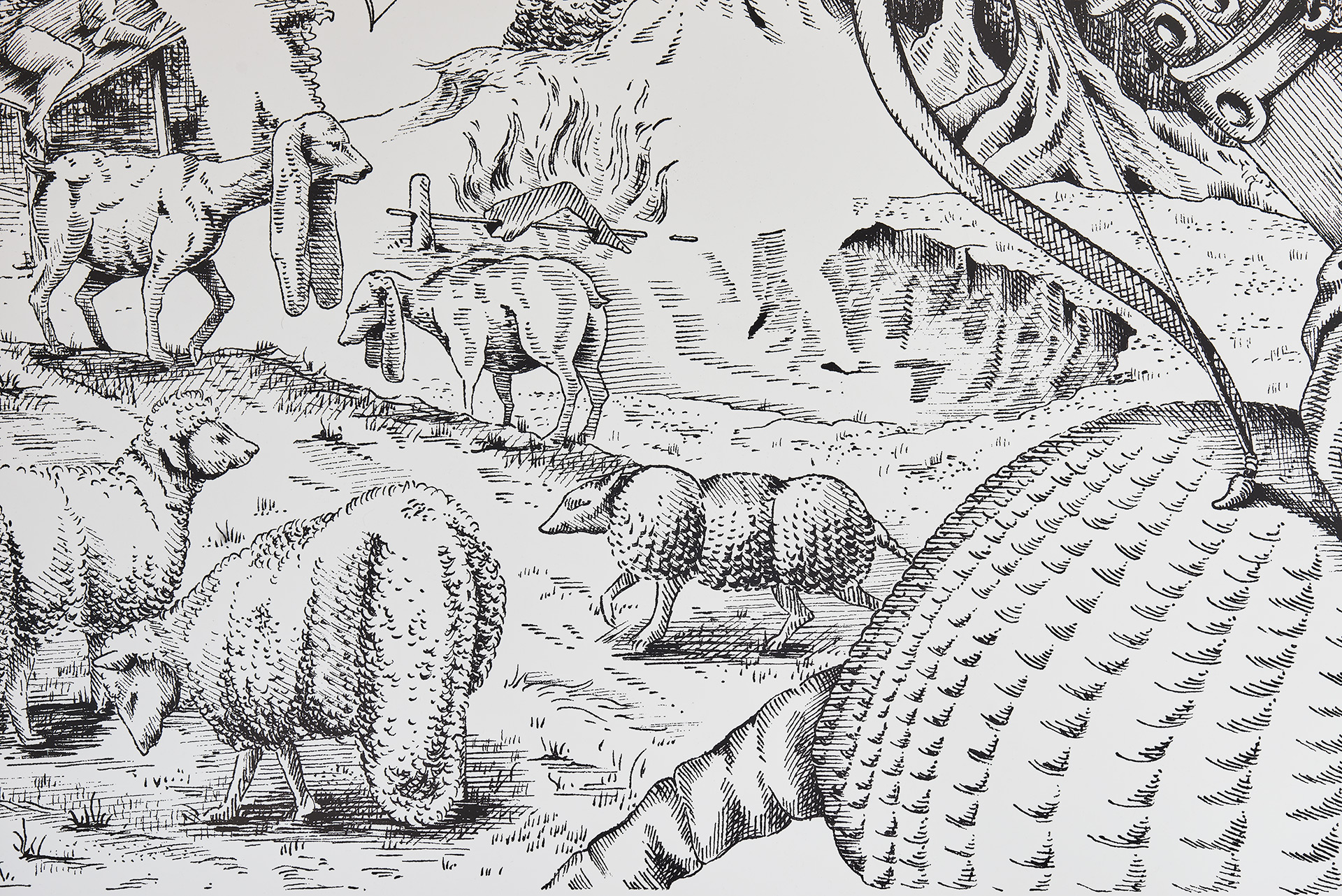 A close up of a drawing in the style of an engraving. The landscape can be seen but figures have been omitted.